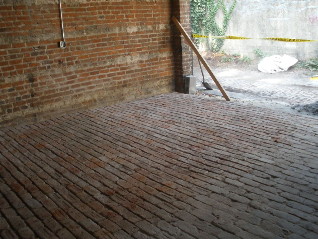 garage conversion demo and install brick floor park